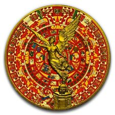 LIBERTAD AZTEC CALENDAR 1 OZ SILVER COIN WITH 24 KT GOLD MEXICO 2017