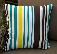 Teal, Yellow, Taupe and White Designer Cushion Cover - 45cm x 45cm