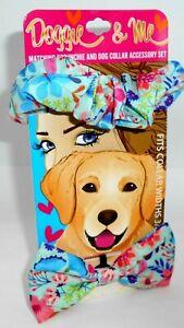 DOGGIE & ME Matching Scrunchie & Dog Collar Accessory Set New On Card Set 2