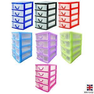4 Drawer Mini Storage Unit Draw Tower Home Office Kitchen Jewellery Box G0663 UK