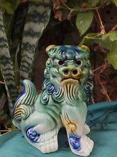 Antique  Chinese Foo Dog Guardian Lion Green Blue Glaze Fierce beautiful