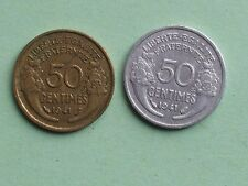 50 centimes 1941 une en alu l autre en bronze alu