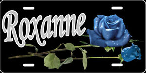 Engraved - Personalized Blue Rose License Plate - Auto Tag