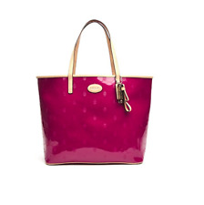 NWT COACH F31944 METRO EMBOSSED LEATHER TOTE SILVER/CRANBERRY