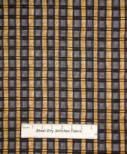 Plaid Golden Beige Gray Black Cotton Fabric South Sea Boo Kitty By The YARD