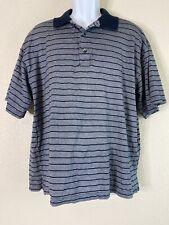 Greg Norman Men Size L Blue Striped Polo 60/2 Double Mercerized