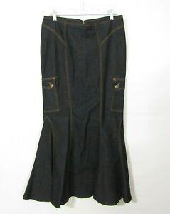 Bisou Bisou Denim Skirt Size 10 Trumpet Mermaid Very dark wash Black? Long