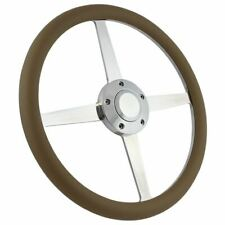 "14"" 4-Spoke Polished Steering Wheel Tan Grip"