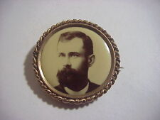 Brooch 1 1/2 inch Pat'D 1898 Antique Victorian Edwardian Gold Mourning Photo Pin