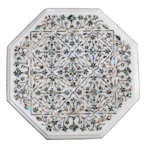 """15"""" Marble Corner Table Top Handwork Handicraft Item pietra dura inlay art"""