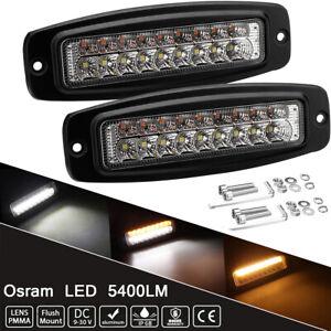 2X 7.3 Inc Car Off-Road Driving Fog Light Osram LED Work Light Bar White & Amber