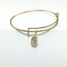 Charm With Pendant Bracelet Bangle Green Fashion Gold Tone Expandable Wire Love
