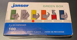 Janser Green Box (yellow) Vinyl & Carpet Knife Cutter Hooked  Blades Pack Of 100