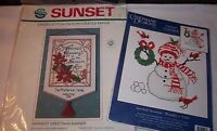 2 Crafts Kit Holiday Christmas NEW Greetings Banner + Cardinals Snowball Snowman