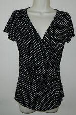 Women Talbots Polka Dot Black Ivory Cap Sleeve Casual Work Top  Blouse Size XS