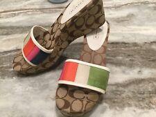 Coach Ellah Single Strap Striped Wedge Sandal . 10 M. New !