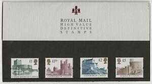 GB 1992 Harrison Castles High Values set, Royal Mail presentation pack no.27