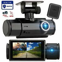 GPS Dual Lens Dash Cam HD 1080P Front and Inside Car DVR Camera Video Recorder