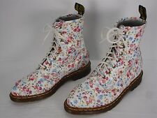 DR. MARTENS LOTTIE FLORAL PRINT LEATHER 8 EYELET LACE UP ANKLE BOOTS WOMEN'S 7