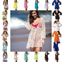 COQUETA swimsuit Cover UP DRESS tunic mesh chiffon sheer crochet resortwear new