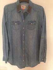 Only Jeanshemd Gr.36 S Stickerei Paletten perlen blau Blogger grau jeans bluse
