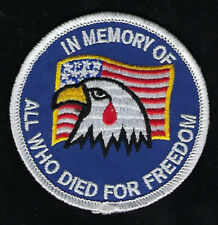 IN MEMORY OF ALL WHO DIED FOR FREEDOM EAGLE HAT PATCH FUNERAL US MARINES NAVY