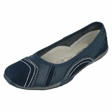 Ladies Down to Earth Flat Ballerina Shoes F8991 UK 6 Navy Standard