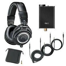 Audio-Technica ATH-M50x Headphones Black + FiiO E10K USB DAC Headphone Amplifier