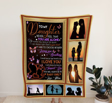 To my daughter, Never feel that you are alone, Fleece, Quilt Blanket Print Usa
