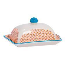 Patterned Porcelain Kitchen Butter Dish With Lid - Orange / Blue