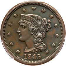 1845 N-8 PCGS UNC Details Braided Hair Large Cent Coin 1c