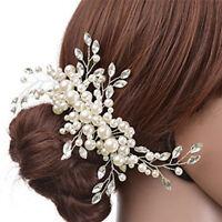 New Women Wedding Jewelry Hair Clip Crystal Pearl Flower Tiara HairAccessoriesZY