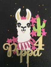 Llama Personalised Custom Cake Topper Birthday Any Name Age Colour Glitter Card