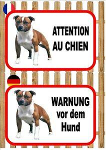 Stafford Terrier Beware of the Dog Sign ATTENTION AU CHIEN WARNUNG VOR DEM HUND