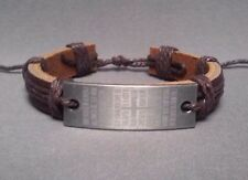"Christian Bracelet DARK BROWN Leather Etched ""Our Father""  Facing Low Stock NEW!"