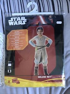 Star Wars Deluxe Rey Fancy Dress Costume Outfit Large Age 7-8 years Girls Childs