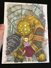 Bioshock Big Daddy Little Sister Original Painting Artwork By Chris Oz Fulton
