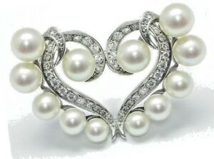 1.14ctw ROUND DIAMOND 14K SOLID WHITE GOLD PEARL GEMSTONE HEART BROOCH PIN