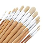 12pc Long Handle Wooden Round Head Artist Paint Brush Sets Art Craft Brushes New