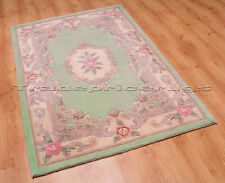 Flair Rugs Lotus Premium Aubusson Traditional 100 Wool Rug Green W75cm X L150cm