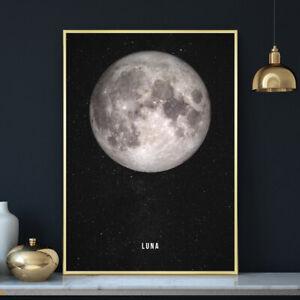 "THE MOON ""LUNA"" Photograph Illustration Wall Art Print Poster Space A4 A3 A2 A1"