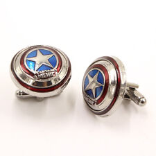 Stainless Steel Cartoon Shirt Cufflinks Men Fashion Captain America Cufflinks