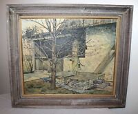 vintage original C.W. Phillips 1967 well water pump barn landscape oil painting