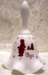 "Fenton Glass Milkglass 6 1/2"" Bell handpainted Silhouette decoration new"