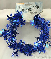 Christmas Snowflake Decoration - 9 Feet Long Wire Garland - Blue (5 Count)