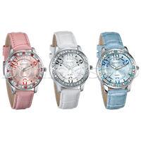 Women's Luxury Rhinestone Luminous Square Dial Leather Band Quartz Wrist Watches