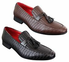 Mens Classic Vintage Tassel PU Leather Driving Shoes Loafers Smart Casual