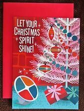 Vintage Style Christmas Card UNUSED ATOMIC MCM Aluminum Tree Color Wheel