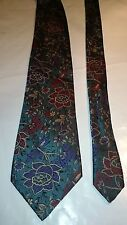 Gianni Rivera Men's Vintage Tie in Bottle Green with Floral Pattern