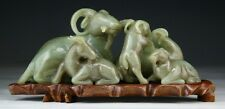 A FINE CHINESE ANTIQUE HETIAN NEPHRITE JADE RAM GROUP, QING DYNASTY